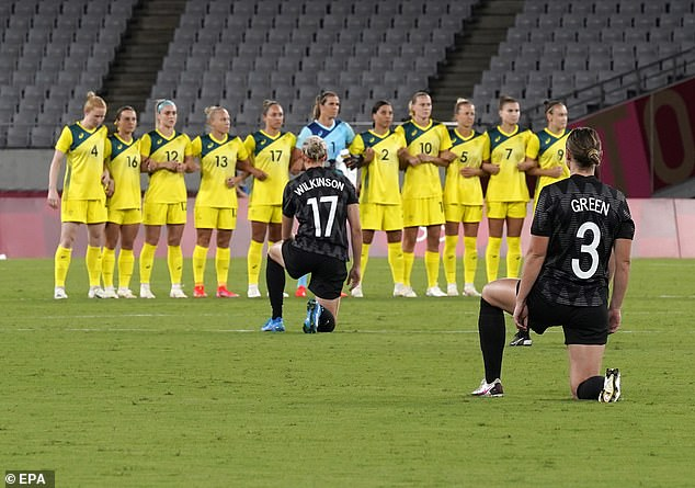 The Matildas' Kiwi opponents also sparked controversy by taking a knee prior to kick-off