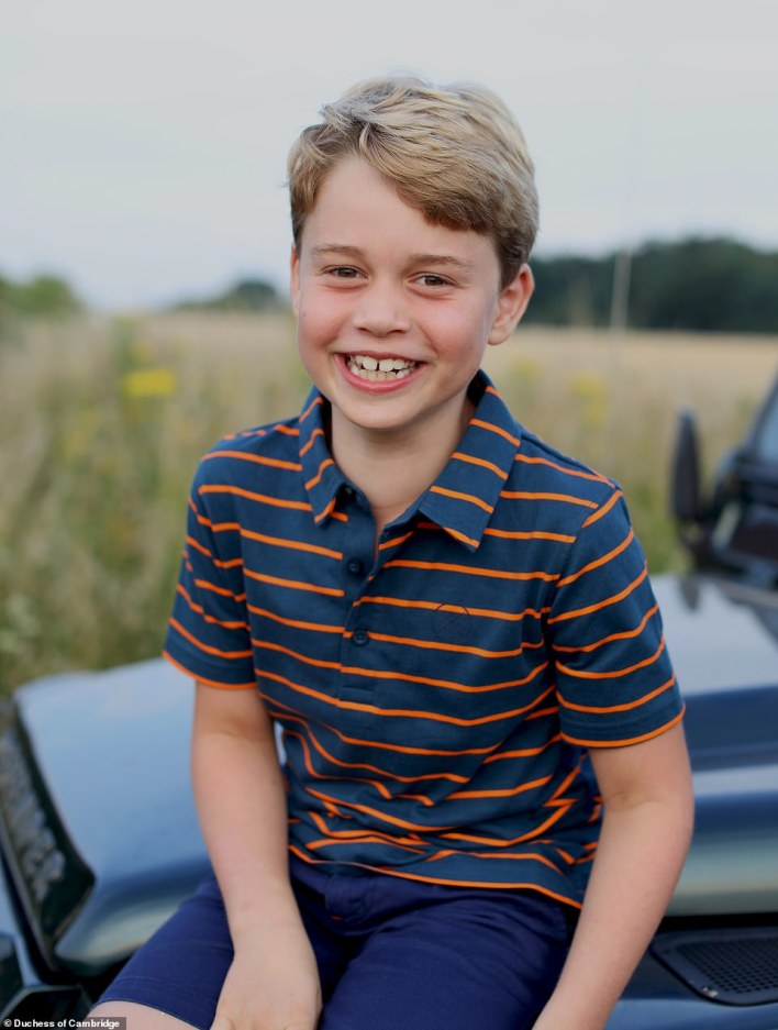 AGED 8: The new photo of Prince George to mark his eighth birthday shows him sitting on an off-road vehicle synonymous with his great-grandfather the Duke of Edinburgh.George, who celebrates his birthday on Thursday, is pictured beaming in the photograph, and is casually dressed in a £10 John Lewis polo-style striped top and shorts