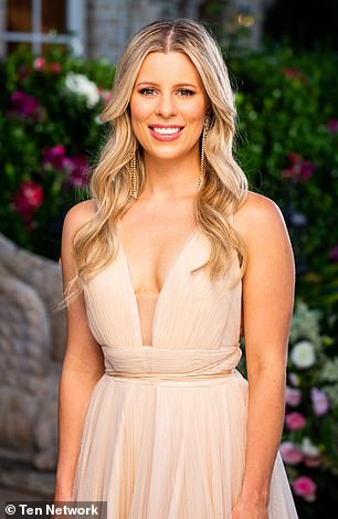 No words needed: Speech pathologist Ashleigh Freckleton (pictured) also let her cleavage do the talking as she arrived on-set in a very low-cut cream gown