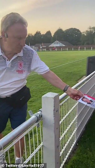 Then, in a heartwarming moment, he handed the gift to a young girl on the grounds of Tavistock AFC