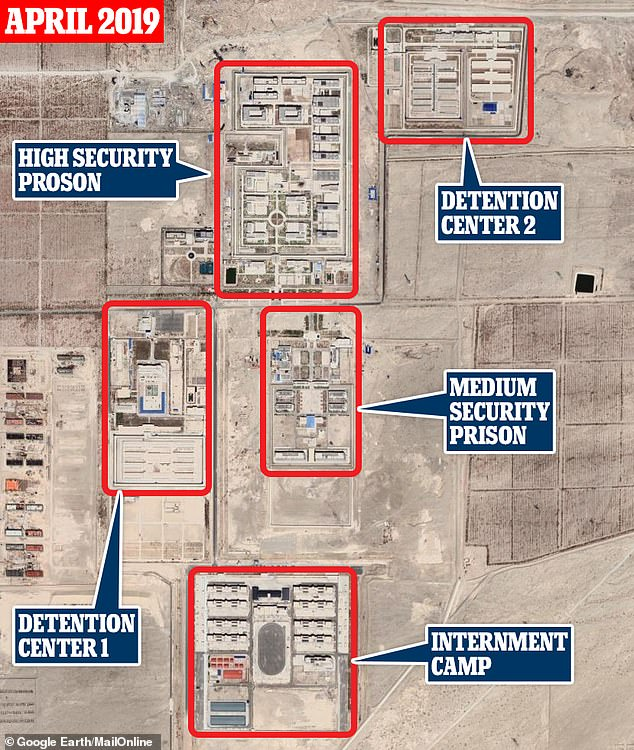 One of the detention centers, seen here from above, east of the old town of Korla, has expanded rapidly in recent years and now houses more than 7,000 inmates