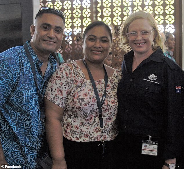 """Australian High Commissioner for Samoa Emily Luck (pictured right at Apia airport as workers flew out) said the """"hardworking group would gain valuable skills while supporting their community"""""""