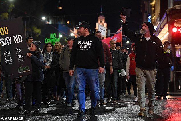 Protesters were quick to take to the streets on July 15 after Victorian Prime Minister Daniel Andrews announced he would detain them again