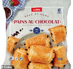 The chocolate croissants are imported from the south of France and marketed under the Coles branding