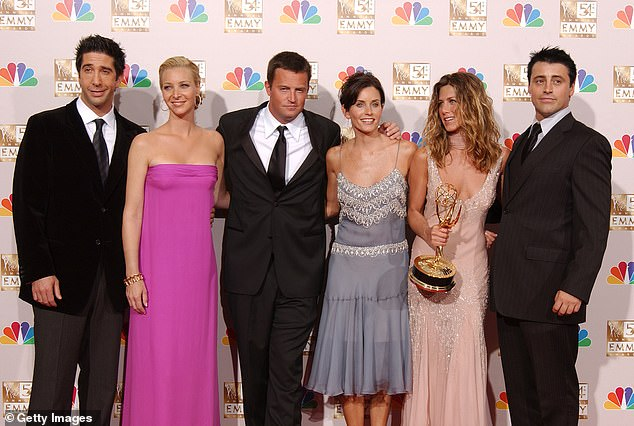 Snubbed: Throughout the NBC show's 10-year run Cox remained the only of the core six to never once receive a nomination; pictured 2002