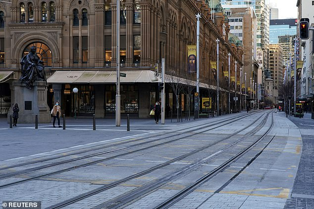 Lockdowns without an end in sight have the potential to plunge Australia into another recession as health authorities struggle to contain the more contagious Delta strain. Restrictions in Sydney (pictured is George Street), Melbourne and Adelaide are already costing an estimated $2.1billion a week