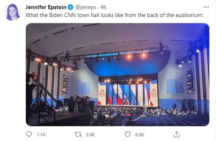 Smart camera angles showed a full house, but reporters noticed many empty seats.  A CNN spokesperson said the crowd was customary in front of their town halls.  It was unclear whether this was due to the pandemic