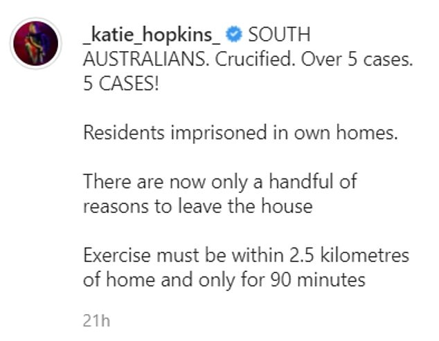 Deported British television star Katie Hopkins blasted Australian authorities in a series of social media posts and dramatically claimed Australian residents were being imprisoned