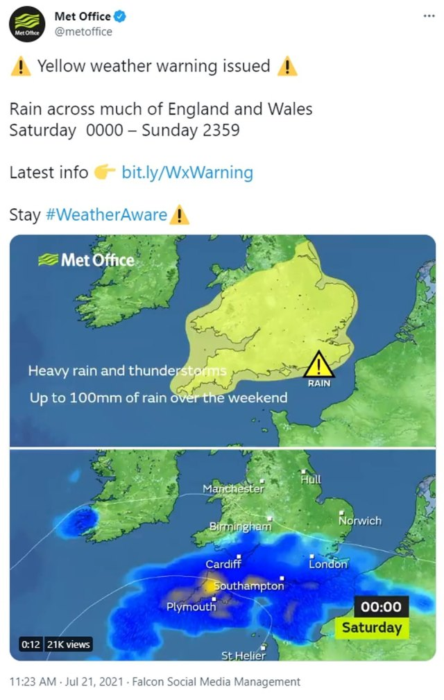The Met Office has issued two extreme weather warnings as Britain's scorching 90F heatwave this week makes way for thunderstorms and torrential downpours over the weekend