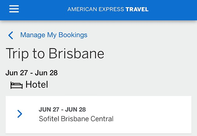 Receipts seen by Daily Mail Australia showed the woman checked into the room that she booked about midday on June 27