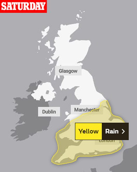 The Met Office has issued a yellow weather warning for rain in central and southern parts of England and Wales