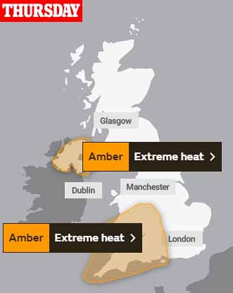 The Met Office has issued two extreme weather warnings as Britain's killer 90F heatwave that has led to a spate of drownings this week continues today and tomorrow