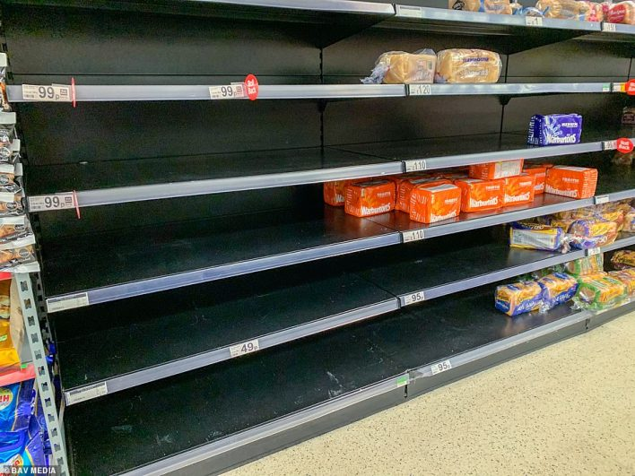 """Empty bread shelves in Asda in Cambridge due to the """"pingdemic"""" and a shortage of lorry drivers."""