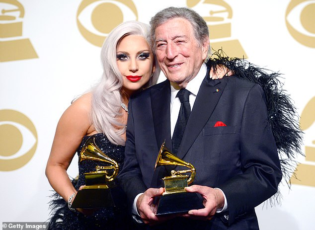 Coming Soon: Tony and Gaga are working on a new album, which is the follow-up to their 2014 hit Cheek to Cheek, due out later this year.  Pictured in 2015