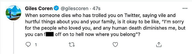 The Twitter account of the 51-year-old, who has been a restaurant critic for the newspaper since 1993, included a post reacting to the death of an unnamed person who he claimed had said 'vile and hurtful things' about his family