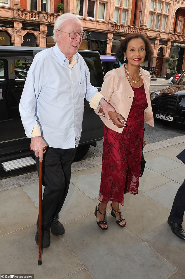 Date night: Michael Caine and his wife of 48 Shakira enjoyed a romantic dinner at Scott's in Mayfair on Wednesday night