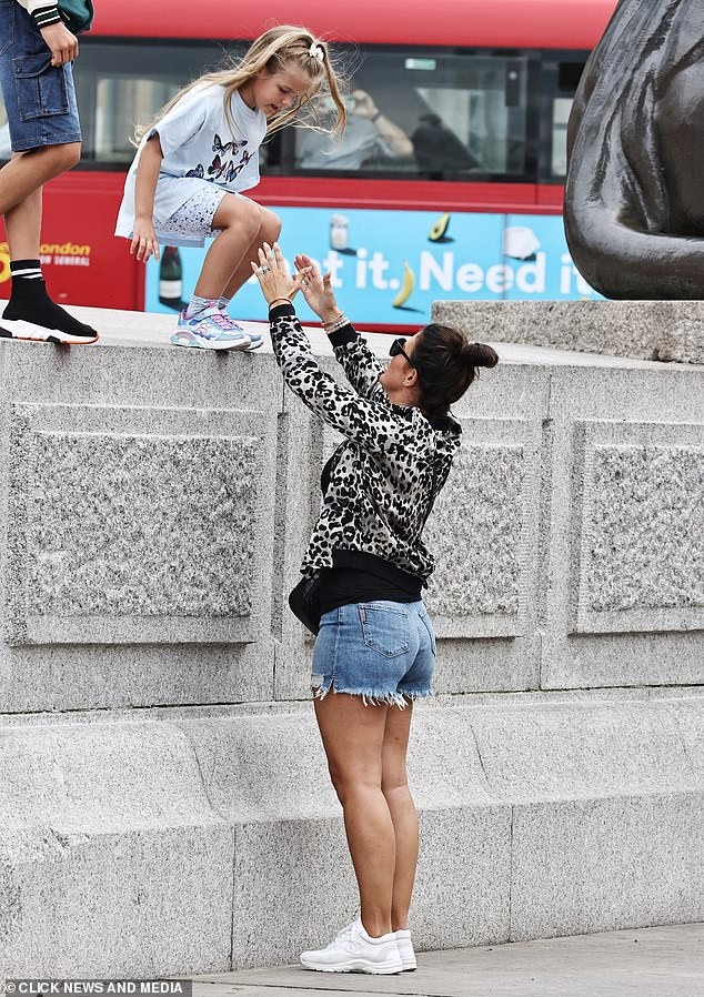 Helping Hand: Rebekah was seen reaching out to Sofia when she tried to take down brass lion statues in Trafalgar Square