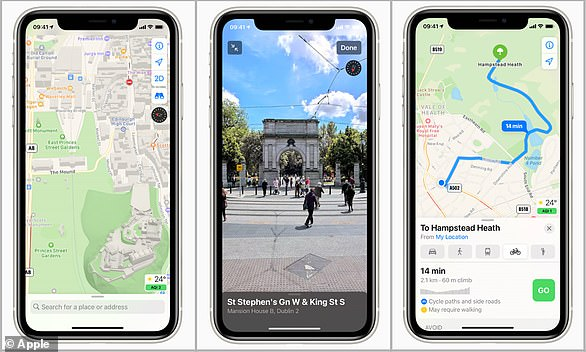 The new Apple Maps launches with more detailed (left) bike routes (right) and the Google Street View-esque 'Look Around' feature (center)