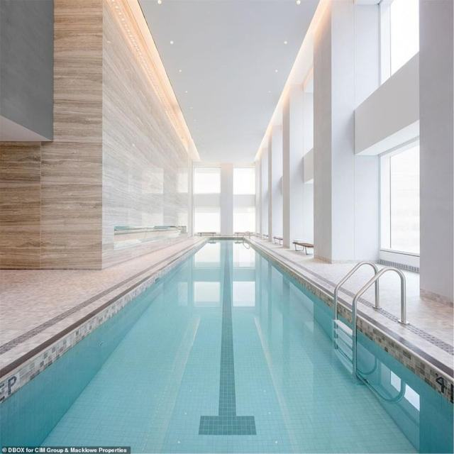 The facility also includes a 75-foot swimming pool, a sauna and a steam room as well as its own fitness center
