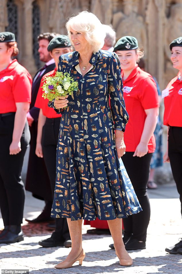 Camilla (pictured), 74, this week visited Devon and Cornwall with her husband and donned recycled outfits for all their engagements together