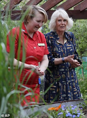 On a trip to Exeter Cathedral - the first stop on their three-day tour of the South West - Camilla looked stylish in a navy blue dress adorned with colorful feathers that she first wore in May this year on a visit to Whittington Hospital. (photo)