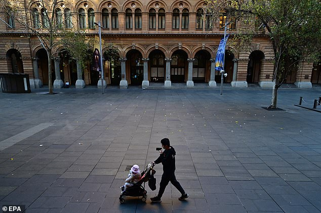 The spike in cases recorded in NSW on Thursday is the highest during Sydney's latest outbreak (residents pictured can be seen in an abandoned Martin Place)
