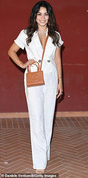 Vision in white: Vanessa Hudgens (pictured) and Heather Graham cut stylish figures as they attended the Filming Italy Festival in Santa Margherita di Pula on Thursday