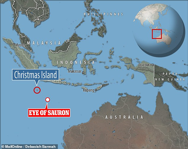 Aboard the research vessel Investigator, the team detected the eye-lookalike at a depth of 10,171 feet below sea level, some 174 miles southeast of Christmas Island