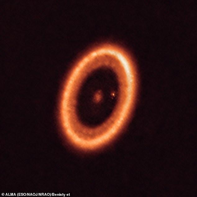 Het systeem heeft een ster in het midden en ten minste twee planeten die eromheen draaien, PDS 70b (niet zichtbaar in de afbeelding) en PDS 70c, omgeven door een cirkelvormige schijf (de stip rechts van de ster).  De planeten hebben een holte uitgehouwen in de circumstellaire schijf (de ringachtige structuur die het beeld domineert) terwijl ze materiaal van de schijf zelf opslokten en in omvang toenemen