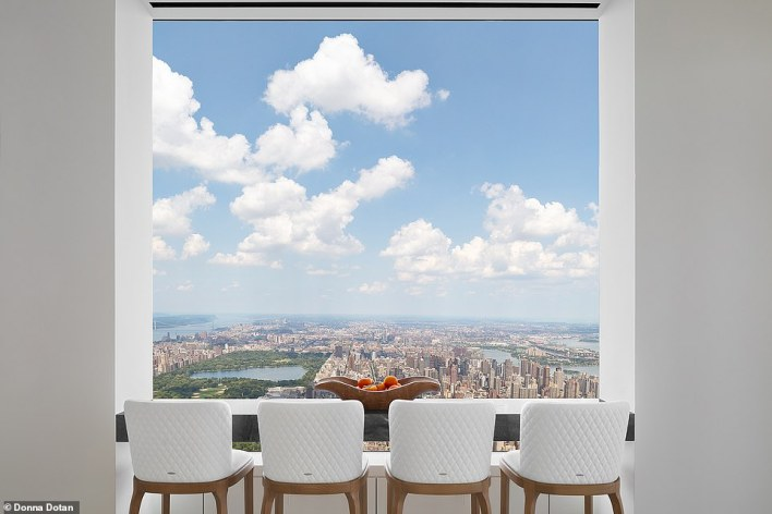 In this cozy space, residents can eat while looking out over the city