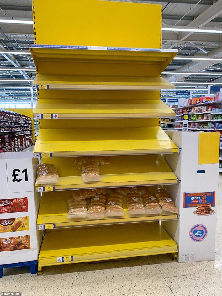 Near-emptybread roll shelves in Tesco in Cambridge on Thursday morning