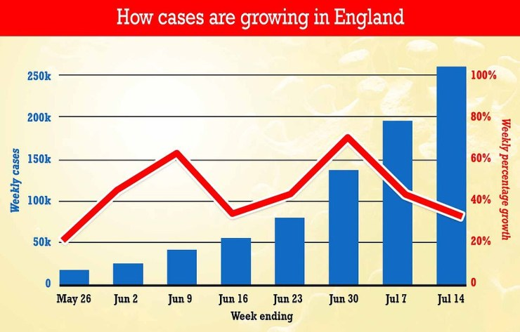 Separate data from Test and Trace published today showed Covid cases are still rising in England (blue bars). But their rate of increase has slowed in an early sign the third wave may be about to peak (red line)