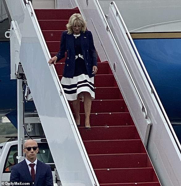 First lady Jill Biden made a stopover in Anchorage, Alaska on Wednesday on her way to the Tokyo Summer Olympics