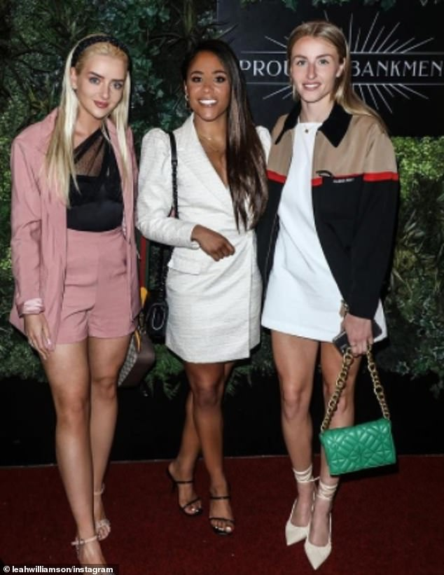 The Arsenal star has amassed 200,000 followers on Instagram, where she often posts images of her outings with fellow footballers like Alex Scott (pictured centre)
