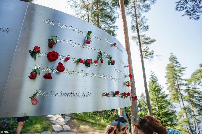 Flowers are placed at the July 22 memorial on the island of Utoya near Oslo, where Breivik killed many members of the youth wing of the Labor Party.