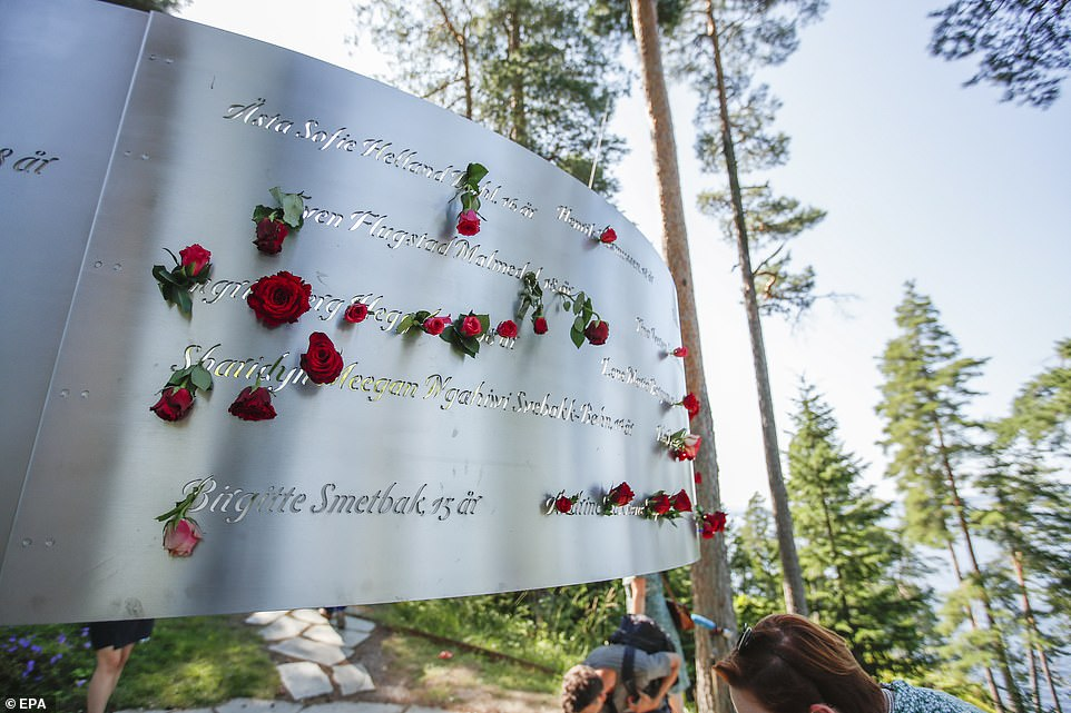 Flowers are placed at the July 22 memorial on the island of Utoya near Oslo where Breivik killed many members of the Labour party's youth wing