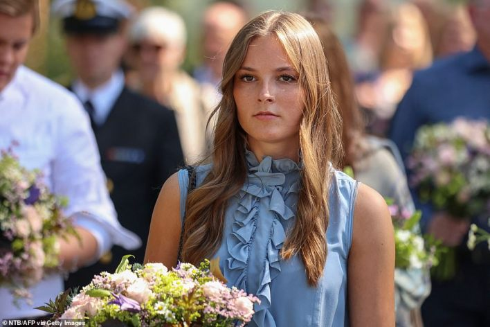 Princess Ingrid Alexandra is pictured at a memorial service to mark a decade since the worst peacetime massacre in the country