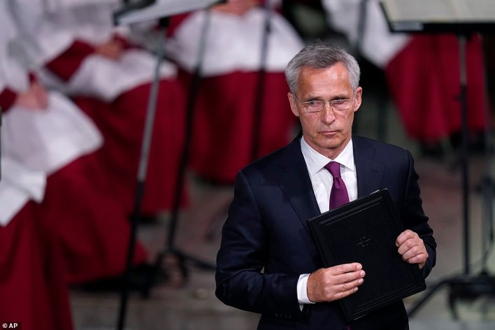 NATO Secretary General Jens Stoltenberg looks on after his speech at the Oslo Cathedral memorial service