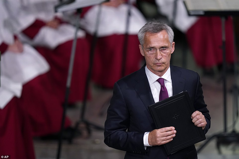 NATO Secretary General Jens Stoltenberg looks on after delivering his speech during the memorial service at Oslo Cathedral