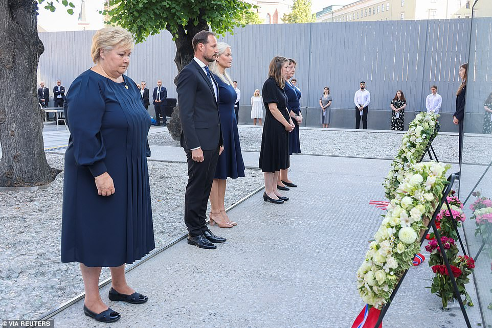 Norway's Prime Minister Erna Solberg, Crown Prince Haakon, Crown Princess Mette-Marit, Workers' Youth League (AUF) leader Astrid Hoem, and a support group leader Lisbeth Kristine Roeyneland attend a memorial service