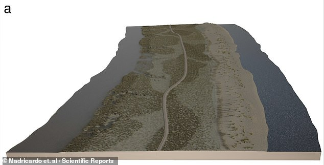 'The submerged road represents, probably, one of the last route segments in the maritime landscape of Altinum [the Roman city that overlooked the Venice lagoon], within a wider network of roads,' the team wrote in their paper. Pictured: an artist's impression of the road