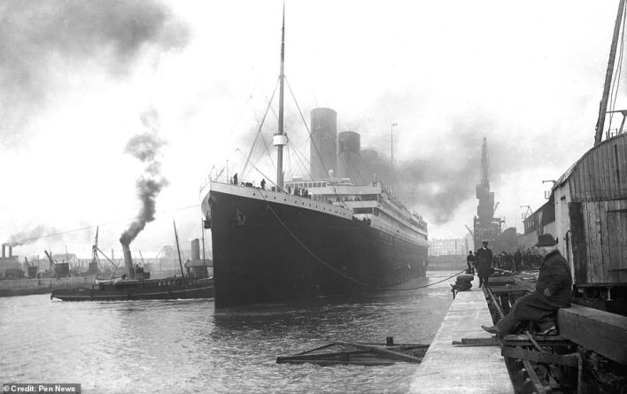 George Widener had travelled to Paris, France, in 1912, with his wife, Eleanor, and his son, Harry, to find a new chef for the Ritz Carlton in Philadelphia – a hotel owned by the family.They would make their journey home - via the UK - aboard the Titanic (pictured in Southampton shortly before it set sail) - a ship Peter Widener had invested in