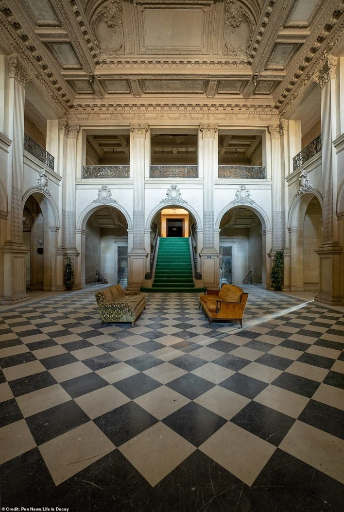 The home's magnificent art collection – which featured, among others, eight Van Dycks, two Vermeers and fourteen Rembrandts – had was donated to the National Gallery of Art in Washington DC. Above: The grand hall as it looks now