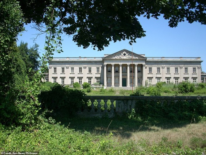 The exterior of the property is now overgrown, but the home's Palladian design - inspired by Prior Park in Somerset - is clearly visible