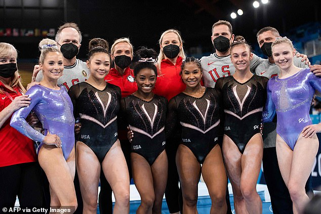 Team USA's star gymnasts have offered a first look at the glitzy — and very pricey — leotards that they're wearing for the Olympics
