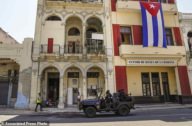 Special forces police patrol the streets in Havana, Cuba, Wednesday after the government executed an internet blackout on residents