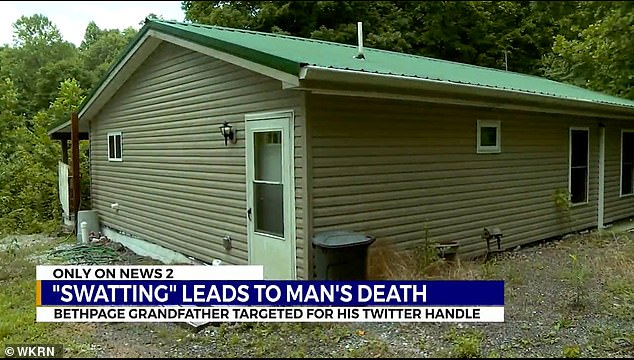 Police surrounded Mark Herring's Tennessee home (pictured) after a murder joke, and he died of a heart attack shortly afterwards