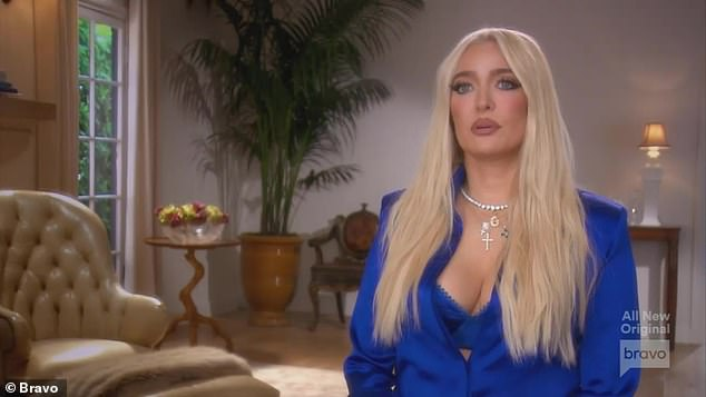 Not great: Erika Jayne revealed estranged husband Tom Girardi was 'unconscious' for 12 hours after being driven off a cliff
