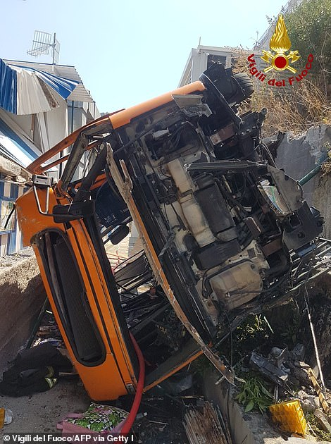 Pictured: The bus after it crashed in Capri, Italy onJuly 22, 2021