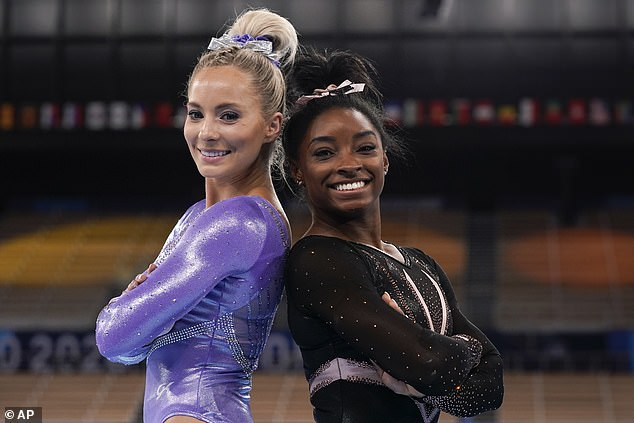 The elite athletes donned two different leotards by GK Elite, the official apparel sponsor of the USA Gymnastics national team, with each one custom-made for the woman wearing it and decked out in about 3,500 Swarovski crystals